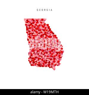 I Love Georgia. Red and Pink Hearts Pattern Vector Map of Georgia Isolated on White Background. - Stock Image