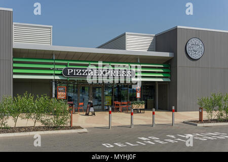 Exterior of the Pizza Express restaurant at Rushden Lakes Shopping Centre; Northamptonshire, UK - Stock Image