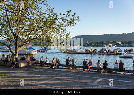 Zurich lake promenade, Zurich, Switzerland - Stock Image