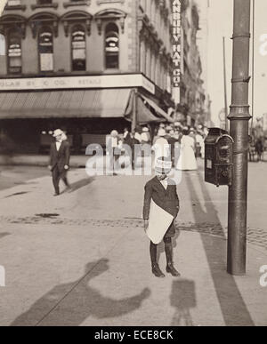 Self-Portrait with Newsboy; Lewis W. Hine, American, 1874 - 1940; New York, New York, United States, North America; - Stock Image