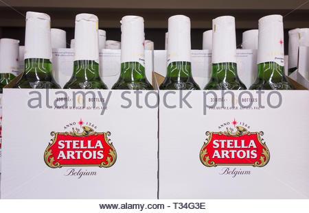Stella Artois premium larger boxes on a supermaket shelt in the UK - Stock Image