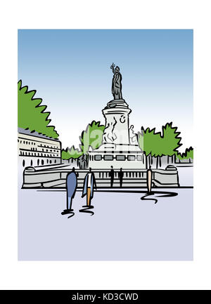 Illustration of Place de la Republique in Paris, France - Stock Image