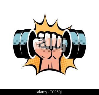 Arm with dumbbell. Gym club logo. Vector illustration isolated on white background - Stock Image