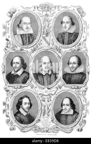 Various portraits of William Shakespeare 1864 - Stock Image