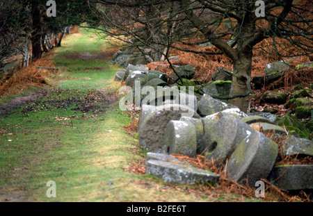 Grit stone millstones in the Peak District National Park Derbyshire - Stock Image
