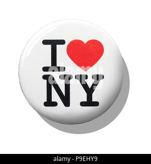 A white I love New York badge - Stock Image