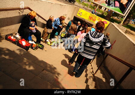 Selling vegetables at Simferopol underpass. Crimea, Ukraine. - Stock Image