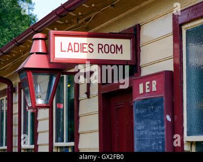 Ladies Room water closet toilet at Goathland railway station Aidensfield North Yorkshire Moors England United Kingdom - Stock Image