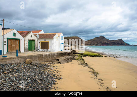 Portugal, Madeira, Porto Santo Island, fishing village - Stock Image
