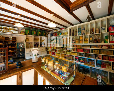 The Village store, interior at the Ryedale Folk Museum in Hutton le Hole North Yorkshire England UK - Stock Image
