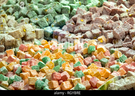 Close up shot of some turkish delight - Stock Image