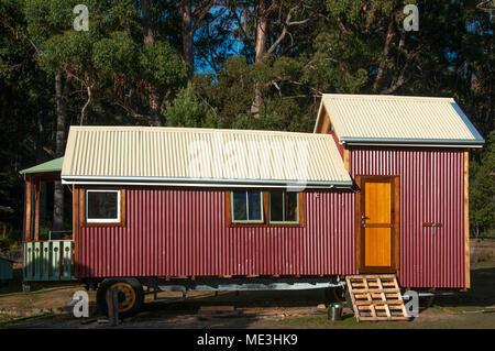 Unfinished caravan building project on a farm at Adventure Bay, Bruny Island, Tasmania, Australia - Stock Image