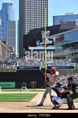 Los Angeles Angels designated hitter Shohei Ohtani hits a single in the seventh inning during the Major League Baseball game against the Minnesota Twins at Target Field in Minneapolis, Minnesota, United States, May 15, 2019. Credit: AFLO/Alamy Live News - Stock Image