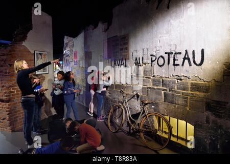 France, Calvados, Caen, the Peace Memorial, occupied France, reconstitution of a graffiti against Laval - Stock Image