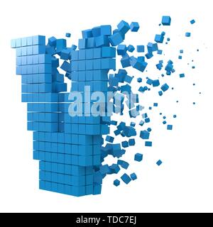 letter V shaped data block. version with blue cubes. 3d pixel style vector illustration. suitable for blockchain, technology, computer and abstract th - Stock Image