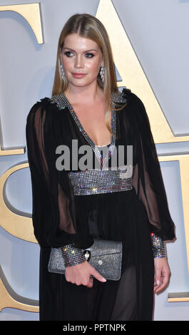 London, UK. 27th September 2018. Lady Kitty Spencer attend A Star Is Born UK Premiere at Vue Cinemas, Leicester Square, London, UK 27 September 2018. Credit: Picture Capital/Alamy Live News - Stock Image