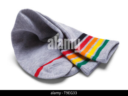 Two Grey Striped Socks Folded Over Isolated on White. - Stock Image