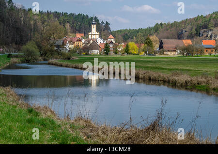Franconian Switzerland is in Upper Franconia, a popular tourist retreat. Located between the River Pegnitz, the River Regnitz and the River Main. - Stock Image