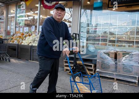 An Asian American man with a shopping cart underneath the elevated #7 train on Roosevelt Avenue in Woodside, Queens, New York. - Stock Image