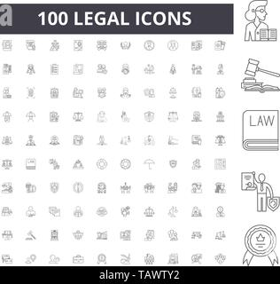 Legal line icons, signs, vector set, outline illustration concept  - Stock Image