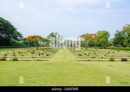Chungkai War Cemetery this is historical monuments where to respect prisoners of the World War 2 who rest in peace - Stock Image