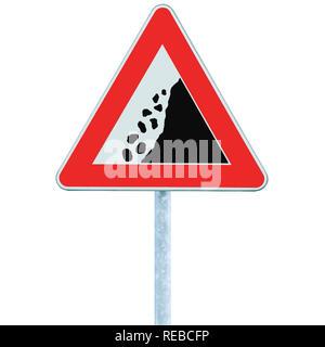 Falling rocks risk caution road sign on pole post, large detailed isolated vertical roadside stones traffic warning signage macro closeup, rock slide - Stock Image