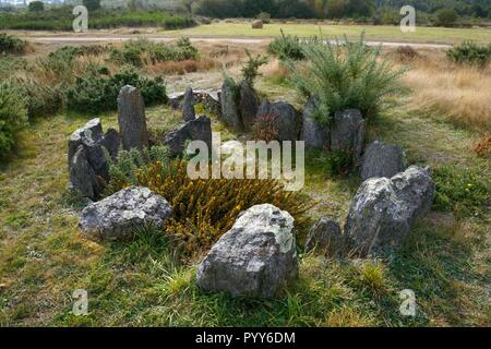 Landes de Cojoux, Saint-Just, Brittany, France. The restored prehistoric barrow passage grave dolmen of Croix Saint Pierre south - Stock Image