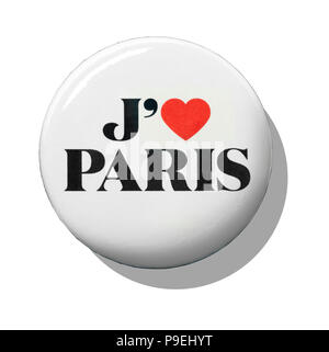 A white I love Paris badge - Stock Image