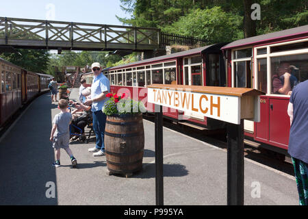 Station platform with trains waiting to depart on the Ffestiniog Railway, Tan-y-Bwlch, Gwynedd, Wales - Stock Image