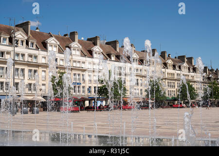 Fountains in the the place Jeanne Hachette, Beauvais, Oise département, France, Europe - Stock Image