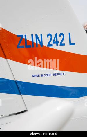 Croatian Air Force ZLIN 242 L trainer aircraft detail, Zemunik AFB, May 17, 2008 - Stock Image