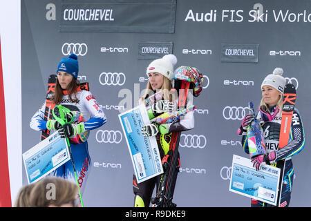 Courchevel, France. 22nd December 2018.  Ladies Slalom Audi FIS Alpine Ski World Cup 2019 Credit: Fabrizio Malisan/Alamy Live News - Stock Image