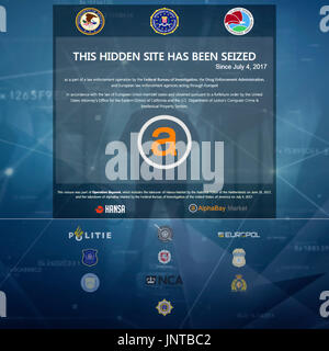 """'This Hidden Site Has Been Seized Since July 4, 2017"""" US Department of Justice (DoJ), FBI, DEA and Europol screen displayed on AlphaBay contraband marketplace accessed via the TOR network. See below for more information. - Stock Image"""