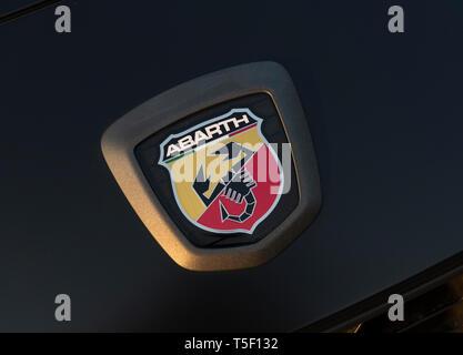 2018 Fiat 124 Abarth Spider badge - Stock Image