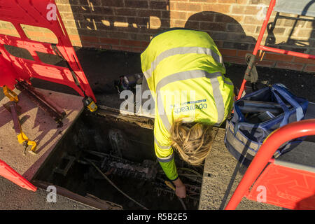 Openreach female operative fault-finding in underground junction box - Stock Image