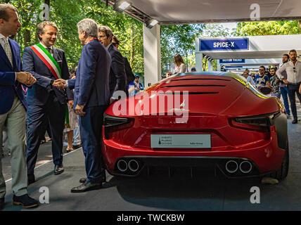 Piedmont Turin - Turin auto show 2019  - Valentino park - personalities visit the stands - Mole laboratorio artigianale Stad - Stock Image