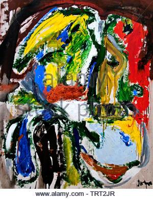 The Traveller from Munich by Asger Jorn - Asger Oluf Jorn, born in 1914 Danish painter, sculptor, ceramic artist, and author.  ( Avant-Garde movement COBRA ) Denmark - Stock Image