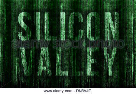 Silicon Valley - matrix message - Stock Image