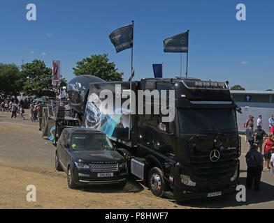 Mercedes F1 car Simulator, British GP, Silverstone Circuit, Towcester, Northamptonshire, England, UK, NN12 8TL - Stock Image