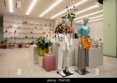 The modern & unusual interior of the Four Five Ten store, a luxury clothing boutique, at 20 Hudson Yards on the West Side of Manhattan - Stock Image