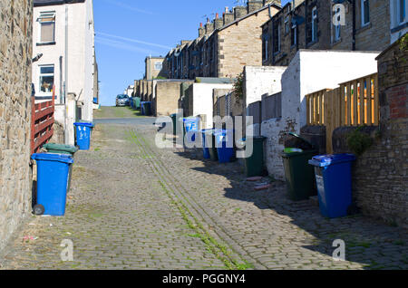 Back alley Terraced houses Skipton North Yorkshire UK - Stock Image