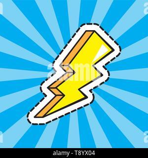 lightning bolts sticker over rays background pop art comic cartoon vector illustration - Stock Image