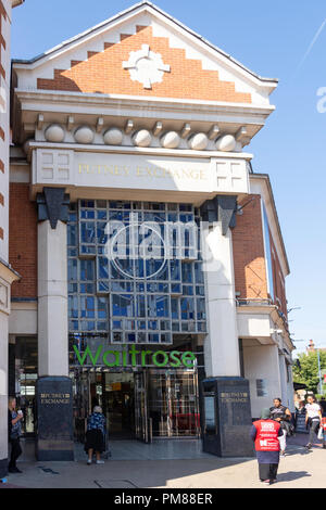Entrance to Waitrose supermarket, Exchange Shopping Centre, High Street, Putney, London Borough of Wandsworth, Greater London, England, United Kingdom - Stock Image