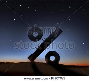 Mountaineers climbing large percentage sign - Stock Image