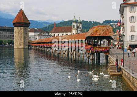 Chapel Bridge and Water Tower, Lucerne, Switzerland - Stock Image
