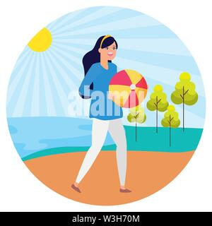 woman with ball landscape nature trees river - Stock Image