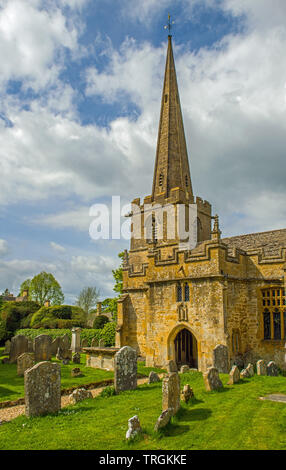 St Michael and All Angels Church at Stanton in Gloucestershire near the Cotswolds, England - Stock Image