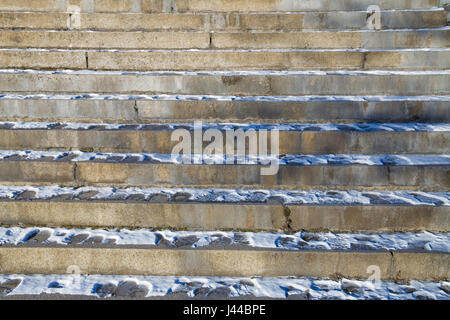 Snowy stairway to up - Stock Image