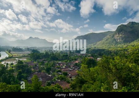 Village under the green valley - Stock Image