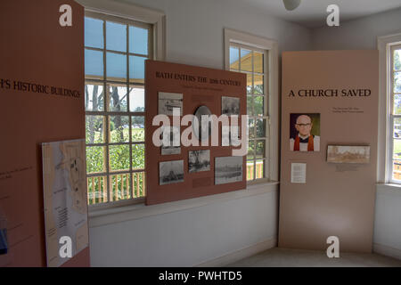 A display in the Van Der Veer house showing information about St. Thomas Church and an early Photographer Thomas F. Draper. - Stock Image